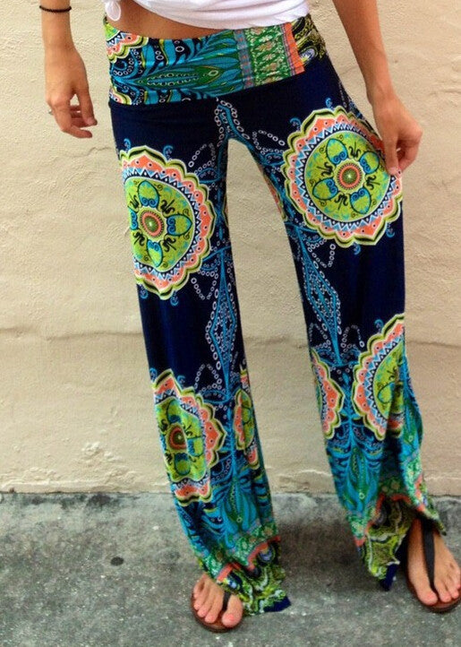 Women Casual Wide Leg Long Pant Palazzo Trousers Floral Print