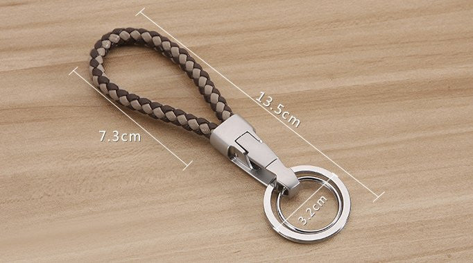 Two-colour Braided Leather Keychain - Feedfend - fistcase