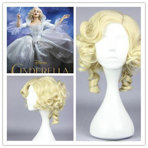 New Cinderella fairy godmode Beautiful wig Anime Wig synthetic short gold cosplay wigs,Colorful Candy Colored synthetic Hair Extension Hair piece 1pcs WIG-016G - Feedfend