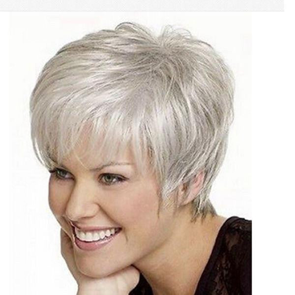 High quality Women Nice short Natural Straight wig Stylish lady Silver synthetic hair wigs W2075 - Feedfend - fistcase