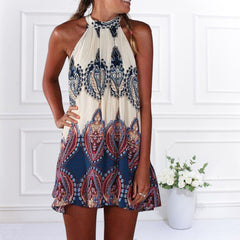Hot  White Vintage Print Halterneck Mini Dress