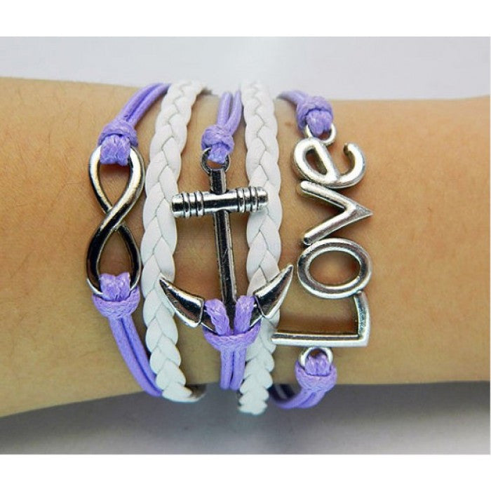 Purple bracelet,Anchor bracelet,infinity bracelet,Love bracelet,white leather Bracelet,Couples bracelet,lover bracelet,leather bracelet,hipsters