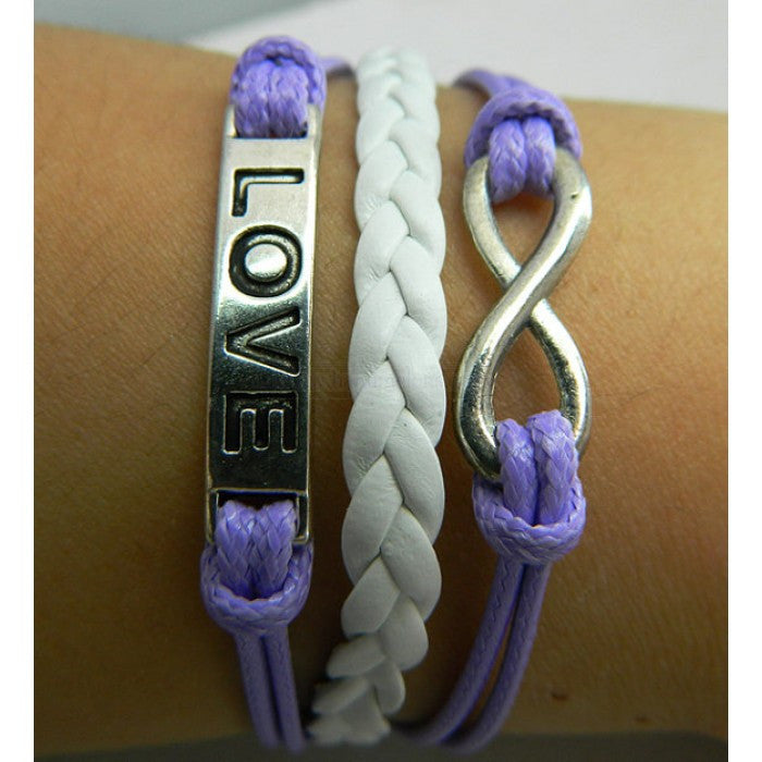 Violet bracelet,Love bracelet,infinity bracelet,white leather Bracelet,Couples bracelet,lover bracelet,leather bracelet,hipsters jewelry,braided bracelet,purple wax rope - Feedfend - fistcase