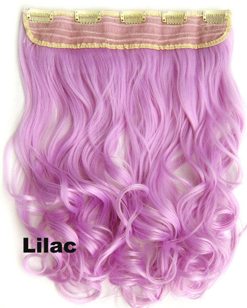 "Clip in on long wavy curl full head set synthetic hairpieces Heat resistance synthetic hair extension 130g  Lilac,24"",1pc - Feedfend"
