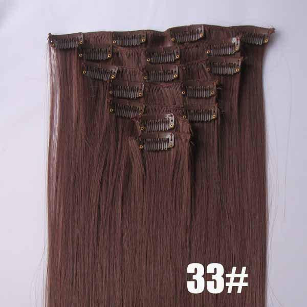 33# Bath&Beauty clip in synthetic hair extensions 7pcs/set,90grams hairpieces clip in hair 7pcs Straight hair,curly hairpiece,Hair Care,fashion COSPLAY ombre 1PC - Feedfend - fistcase