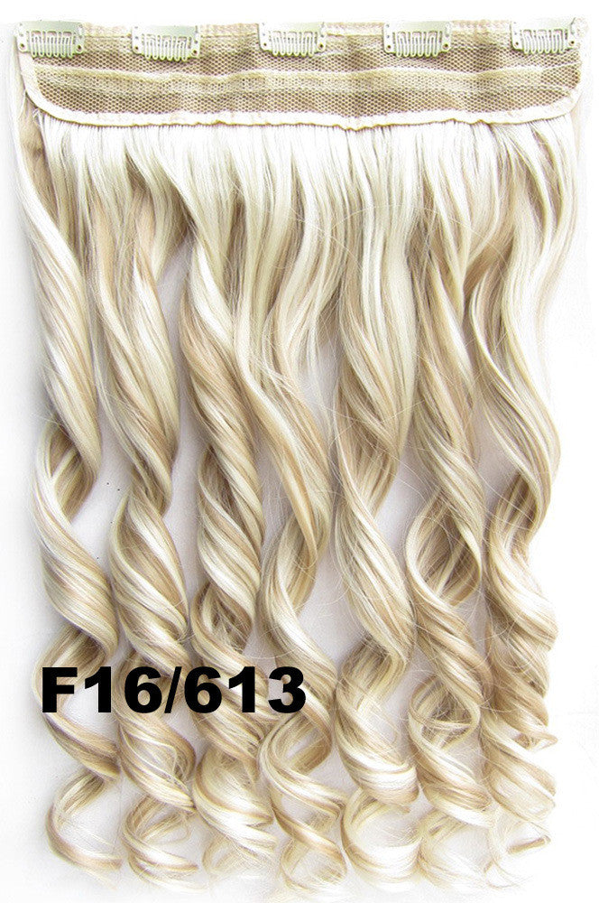 5 clips in on synthetic wavy hairpiece hair extension ponytail 100 colors available 60cm 130gram,1pcs