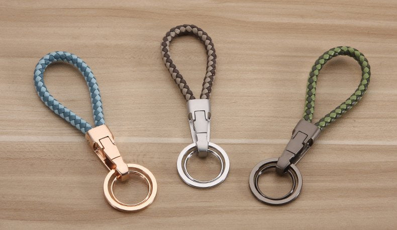 Two-colour Braided Leather Keychain