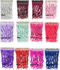 Colorful Candy 12Colors Clip in Hair Extensions 1Weft=5pcs Body Wave Pink Red Green Blue Purple Synthetic Hair Extension U Pick