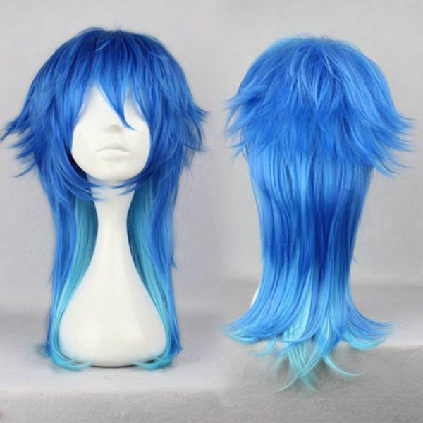 60CM Fashion Mens Hairstyle Blue Mixed Anime Cosplay DRAMAtical Murder DMMD Segaraki Aoba Wig,Colorful Candy Colored synthetic Hair Extension Hair piece 1pc WIG-271C - Feedfend