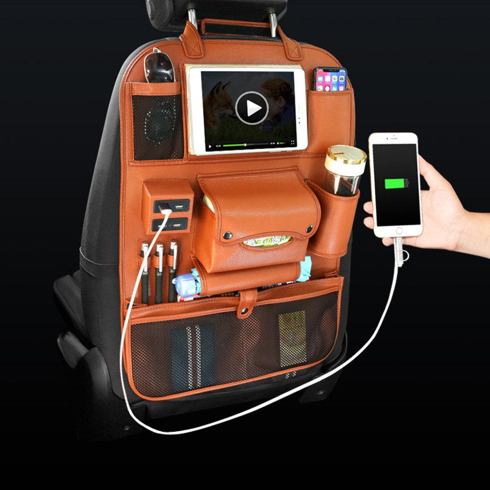 Multi-functional Leather Car Seat Back Storage with USB Charging Port - Feedfend