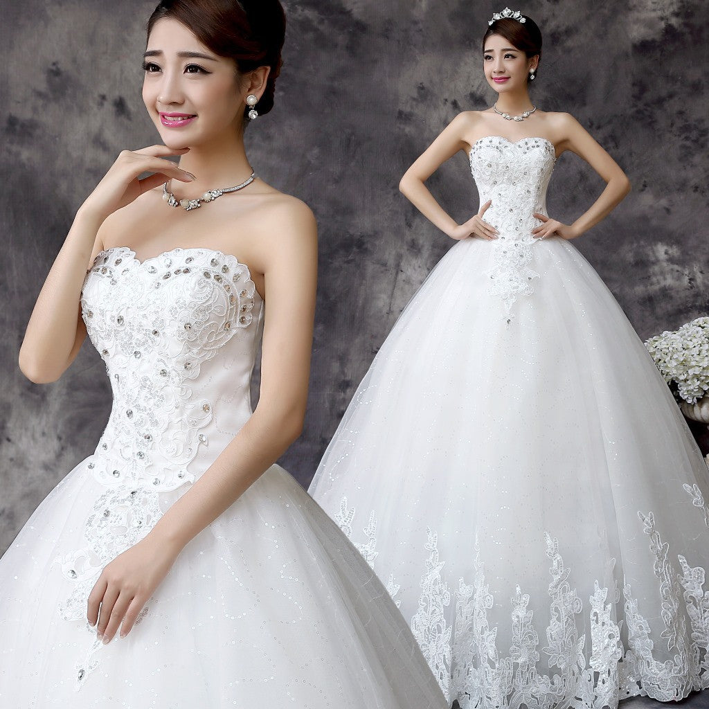 Bride wedding dress 2015 Korean version of the latest Korean sweet and elegant princess wedding - Feedfend