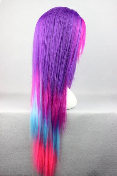 Straight Multi Rainbow Color Anime Women Wig - Feedfend