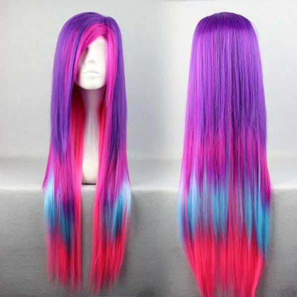 80cm Long Straight Multi Rainbow Color Anime Cosplay Lolita Carnival Wig For Women,Colorful Candy Colored synthetic Hair Extension Hair piece 1pc WIG-286A