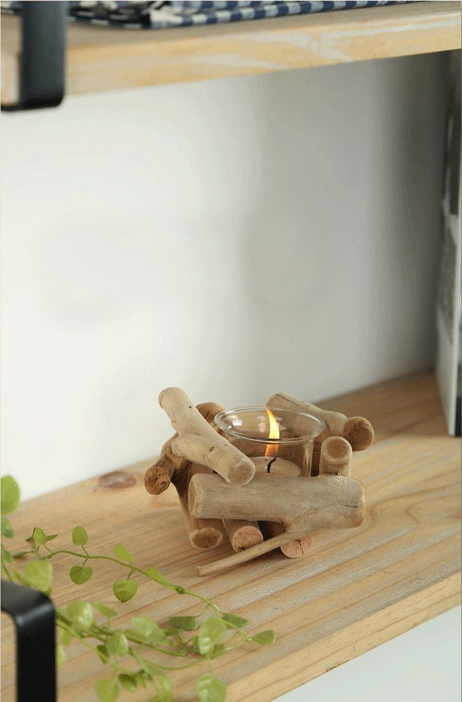 Wood Candle Holder Set