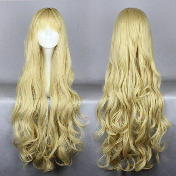 80cm Long Golden Cosplay Anime angel sanctuary-Rosielsynthetic heat resistant fiber Long Blonde Wig,Colorful Candy Colored synthetic Hair Extension Hair piece 1pc CodeGeass-Nunnally Vi Britannia WIG-207H