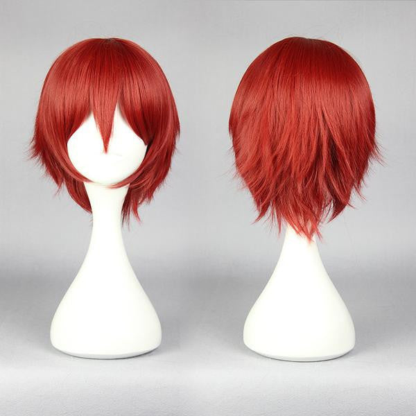 30cm short dark red cosplay wig for handsome man new arrival Japanese cartoon Assassination Classroom-Akabane Karuma cosplay wig,Colorful Candy Colored synthetic Hair Extension Hair piece 1pcs WIG-575B