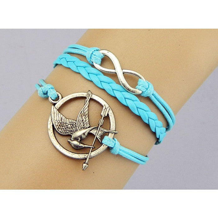 The Hunger games bracelet,Mockingjay pin Bracelet,Mockingjay bracelet,infinity bracelet,Couples bracelet,bird bracelet,lover bracelet,leather bracelet,hipsters jewelry,braided bracelet,Turquoise bracelet - Feedfend - fistcase