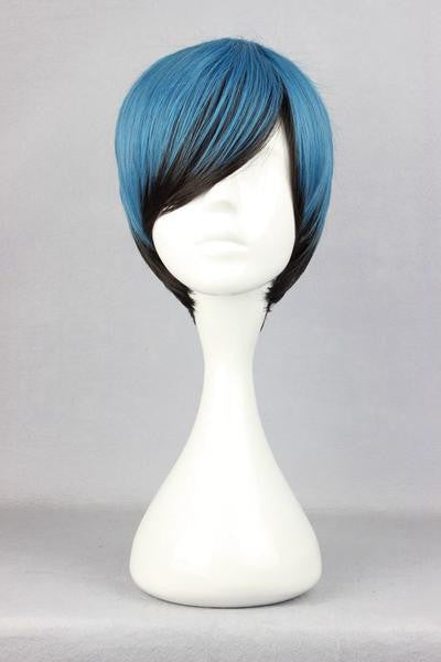30cm blue multi color MSN Short Cosplay Wig anime wigs,Colorful Candy Colored synthetic Hair Extension Hair piece 1pcs WIG-304A - Feedfend - fistcase