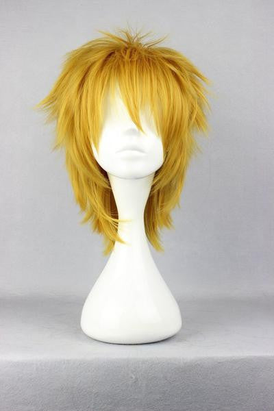 35cm Short DuRaRaRa!-Heiwajima shizuo yellow Cosplay Wig,Colorful Candy Colored synthetic Hair Extension Hair piece 1pc WIG-281A