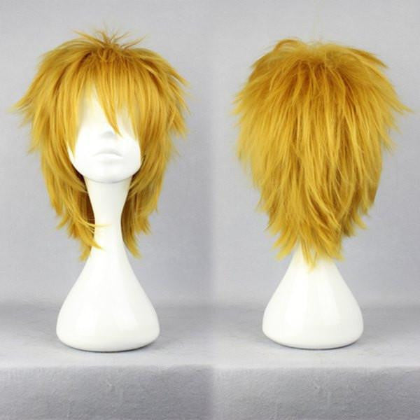 35cm Short DuRaRaRa!-Heiwajima shizuo yellow Cosplay Wig,Colorful Candy Colored synthetic Hair Extension Hair piece 1pc WIG-281A - Feedfend - fistcase