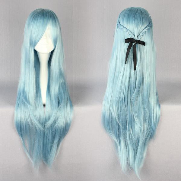 85cm Long Sword Art Online -Asuna Yuuki Multi-color Anime Cosplay Costume Wig,Colorful Candy Colored synthetic Hair Extension Hair piece 1pc WIG-217E - Feedfend