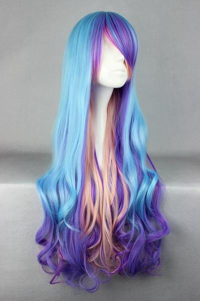 80cm Women Blue Mix Color Wig - Feedfend - fistcase
