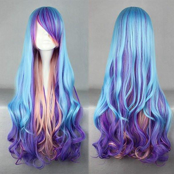 80cm Women Blue Mix Color Wig - Feedfend