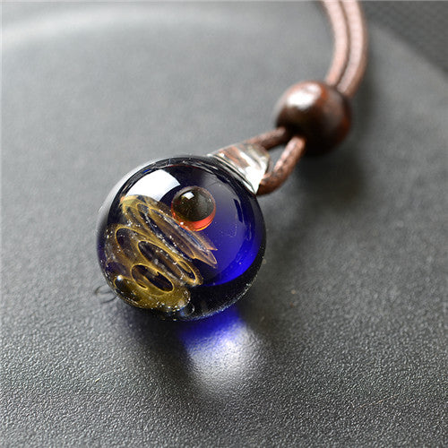 Glass Nebula Cosmic Handmade Galaxy double sided Pendant Necklace Men Women Couple Jewelry christmas presents Gift with Rope - Feedfend - fistcase