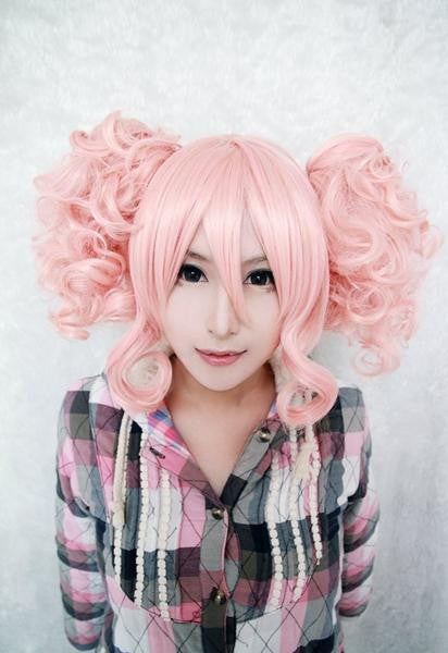 35cm Short Pink Cute Girls Lolita Wig Pigtails,Colorful Candy Colored synthetic Hair Extension Hair piece 1pc WIG-301D