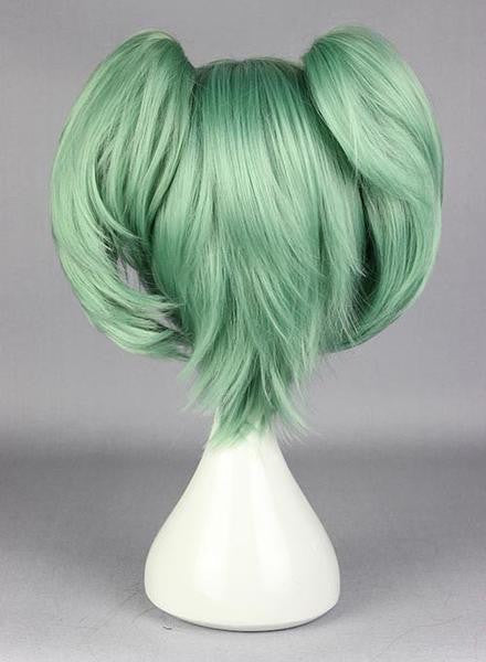 Assassination Classroom-Kayano Kaede green cosplay costume wig with 2 ponytails factory price 30cm short dark green cosplay wigs,Colorful Candy Colored synthetic Hair Extension Hair piece 1pc WIG-575C - Feedfend - fistcase