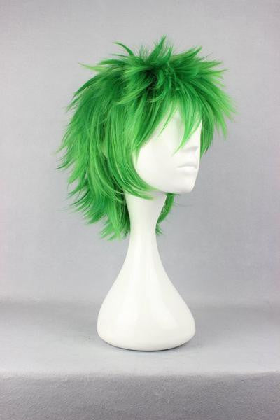 Anime Cosplay Kosuke Ueki 32cm Synthetic Short Green Wig,Colorful Candy Colored synthetic Hair Extension Hair piece 1pc WIG-258A