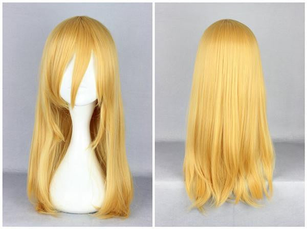 Attack on Titan Krista Lenz 55cm Long Yellow Blonde Synthetic Cute Cosplay Wig,Colorful Candy Colored synthetic Hair Extension Hair piece 1pc Beyonce's Hairstyle WIG-365F - Feedfend