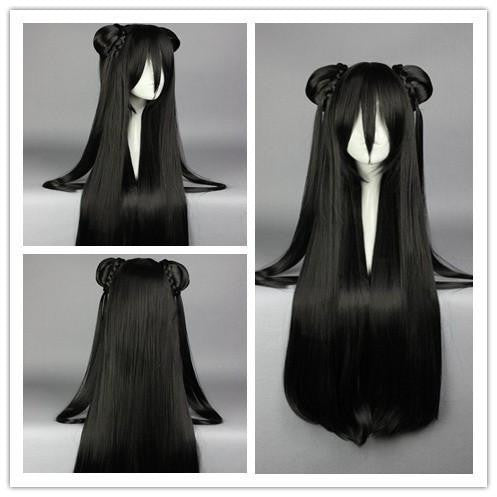 85cm Synthetic Long Straight Black Anime Wig Cosplay Costume Wig with two Ponytail Synthetic Hair Cosplay Wig,Colorful Candy Colored synthetic Hair Extension Hair piece 1pc WIG-008E - Feedfend