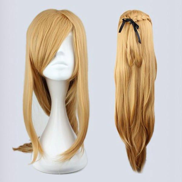 90cm Long Blonde Synthetic Anime Cosplay Sword Art Online -Asuna Yuuki Wig,Colorful Candy Colored synthetic Hair Extension Hair piece 1pc WIG-217D - Feedfend