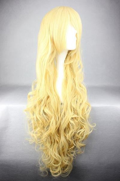 Anime Cosplay TouhouProject-Watatsuki noToyohime Beautiful 90cm Long Curly Yellow Wig,Colorful Candy Colored synthetic Hair Extension Hair piece 1pc WIG-236A - Feedfend