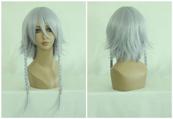 Anime Touhou Project Lzayoi Sakuya Silvery White 60cm Long Braided Cosplay Wig,Colorful Candy Colored synthetic Hair Extension Hair piece 1pc WIG-020A