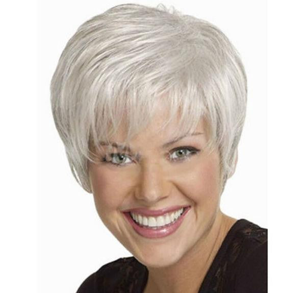 High quality Women Nice short Natural Straight wig Stylish lady Silver synthetic hair wigs W2075 - Feedfend