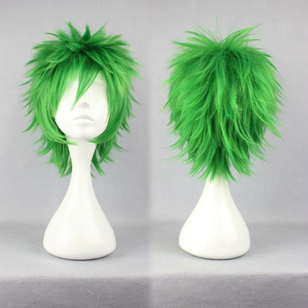 Anime Cosplay Kosuke Ueki 32cm Synthetic Short Green Wig,Colorful Candy Colored synthetic Hair Extension Hair piece 1pc WIG-258A - Feedfend