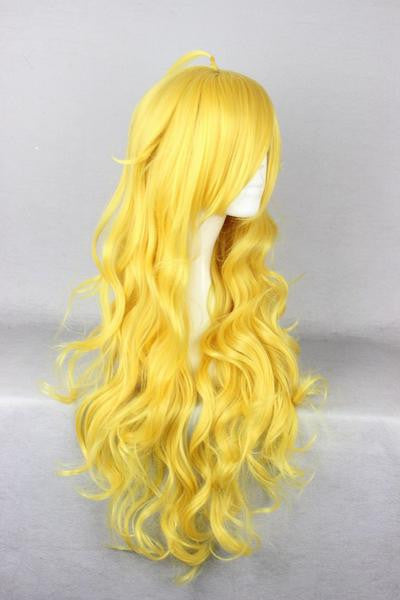 Anime Cosplay RWBY Yang Xiao Synthetic Curly Long Yellow Wig,New Highlight Ombre Colorful Candy Colored synthetic Hair Extension Hair piece 1pc WIG-011D