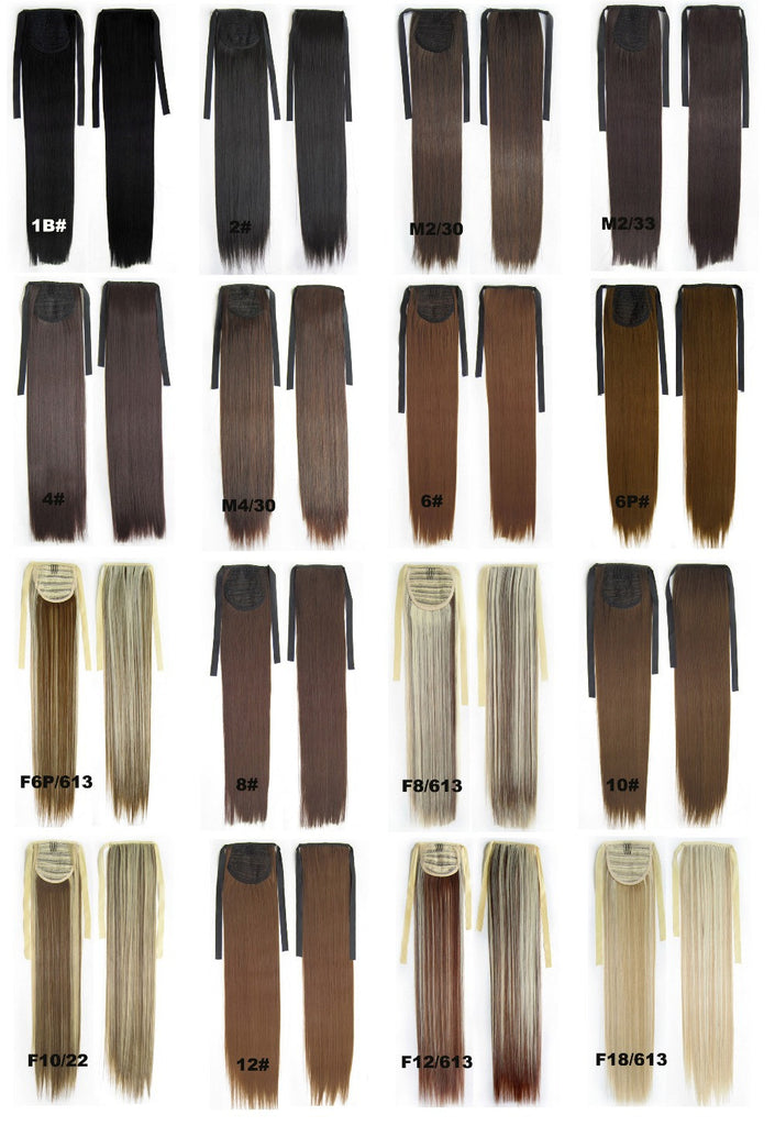 New Style Ponytail Long Straight Hair Piece Ponytail Hairpiece half wig, 28 colors available,55cm,1pc - Feedfend