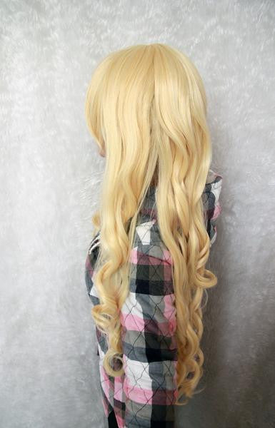 Anime Cosplay TouhouProject-Watatsuki noToyohime Beautiful 90cm Long Curly Yellow Wig,Colorful Candy Colored synthetic Hair Extension Hair piece 1pc WIG-236A