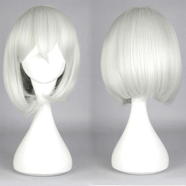 New pop style ToukenRanbu HonebamiToushiro Heat resistant Short Bob wig Silvery White Cosplay Wig,Colorful Candy Colored synthetic Hair Extension Hair piece 1pcs WIG-579G