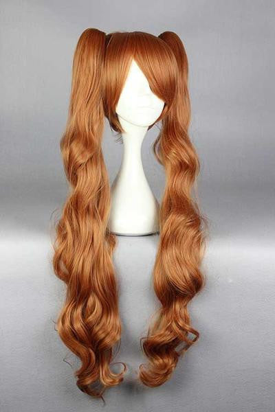 90cm Beautiful Girls Hairstyle Cosplay Anime Yurikuma Arashi Yurigasaki Lulu Wavy Long Brown Wig With Two Ponytails,Colorful Candy Colored synthetic Hair Extension Hair piece 1pc WIG-576G - Feedfend - fistcase