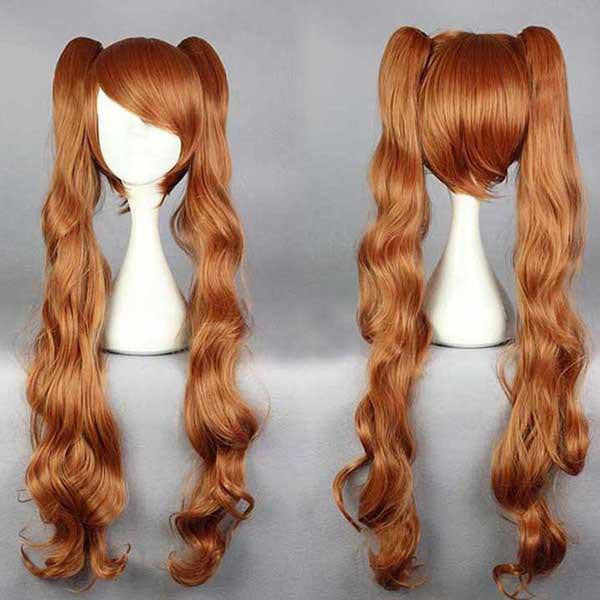 90cm Beautiful Girls Hairstyle Cosplay Anime Yurikuma Arashi Yurigasaki Lulu Wavy Long Brown Wig With Two Ponytails,Colorful Candy Colored synthetic Hair Extension Hair piece 1pc WIG-576G