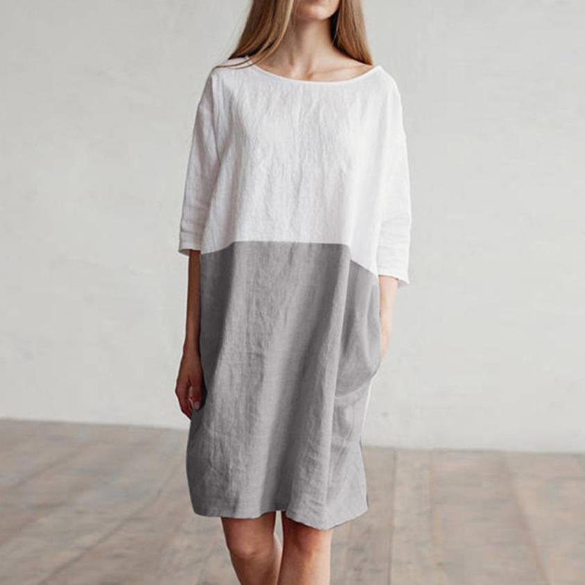 Cotton Linen Dress Oversize Loose Pockets Tunic Dress - Feedfend - fistcase