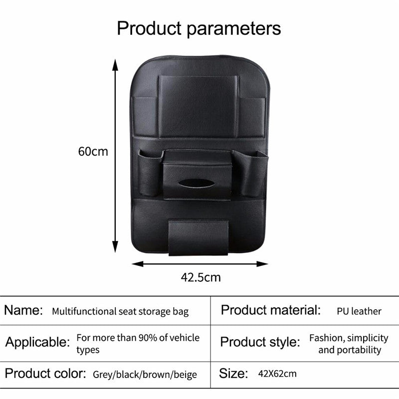 Car Organizer Car Seat Back Storage Bag Travel Box Multi-pocket PU Leather Backseat Hanger Auto Accessories Interior Stowing - Feedfend