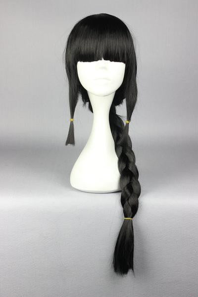 75CM Black With One Braid Kantai Collection KanColle-Akatsuki Cosplay Party Costume Full Wig Fashion Women Syle,Colorful Candy Colored synthetic Hair Extension