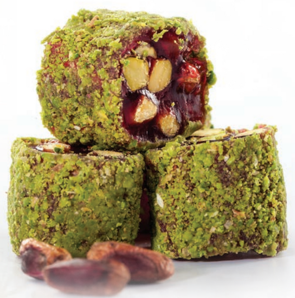 Pomegranate Pistachio Covered Turkish Delight