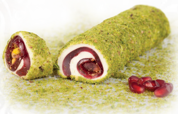 Pomegranate Wrapped Turkish Delight with Pistachio