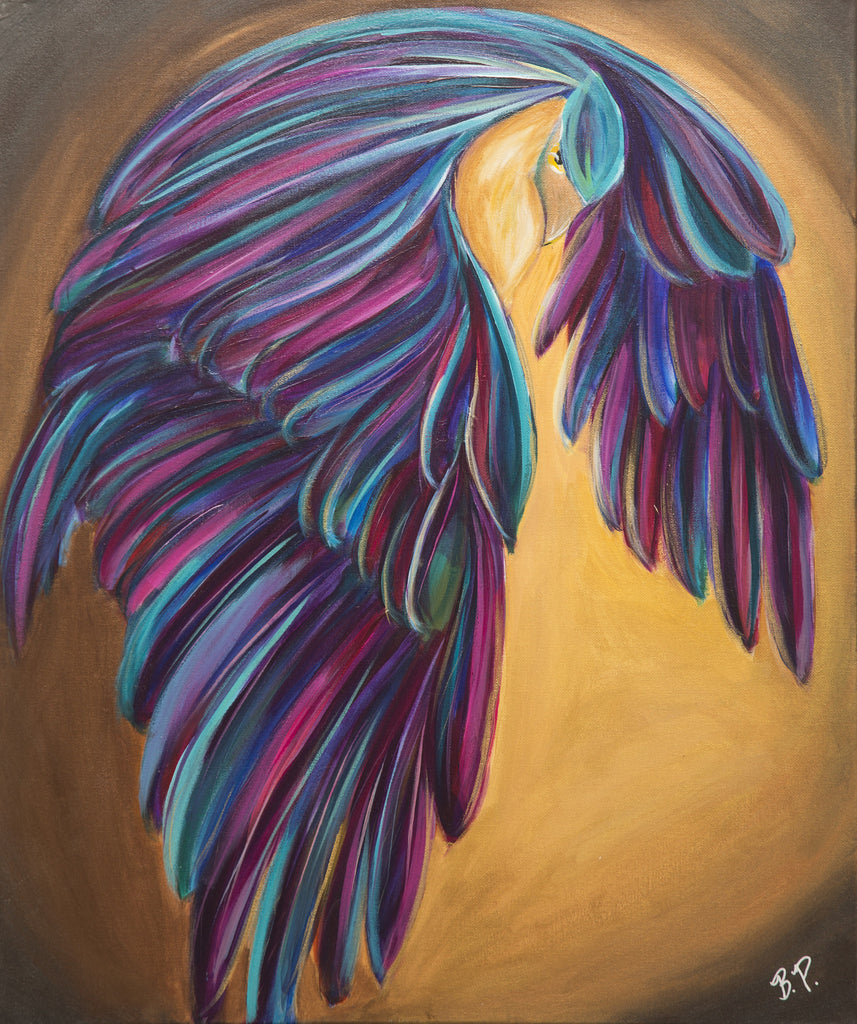 From Within Contemporary Art Brandi Pratt Colorful Vibrant Acrylic Painting Bird hawk eagle pheonix